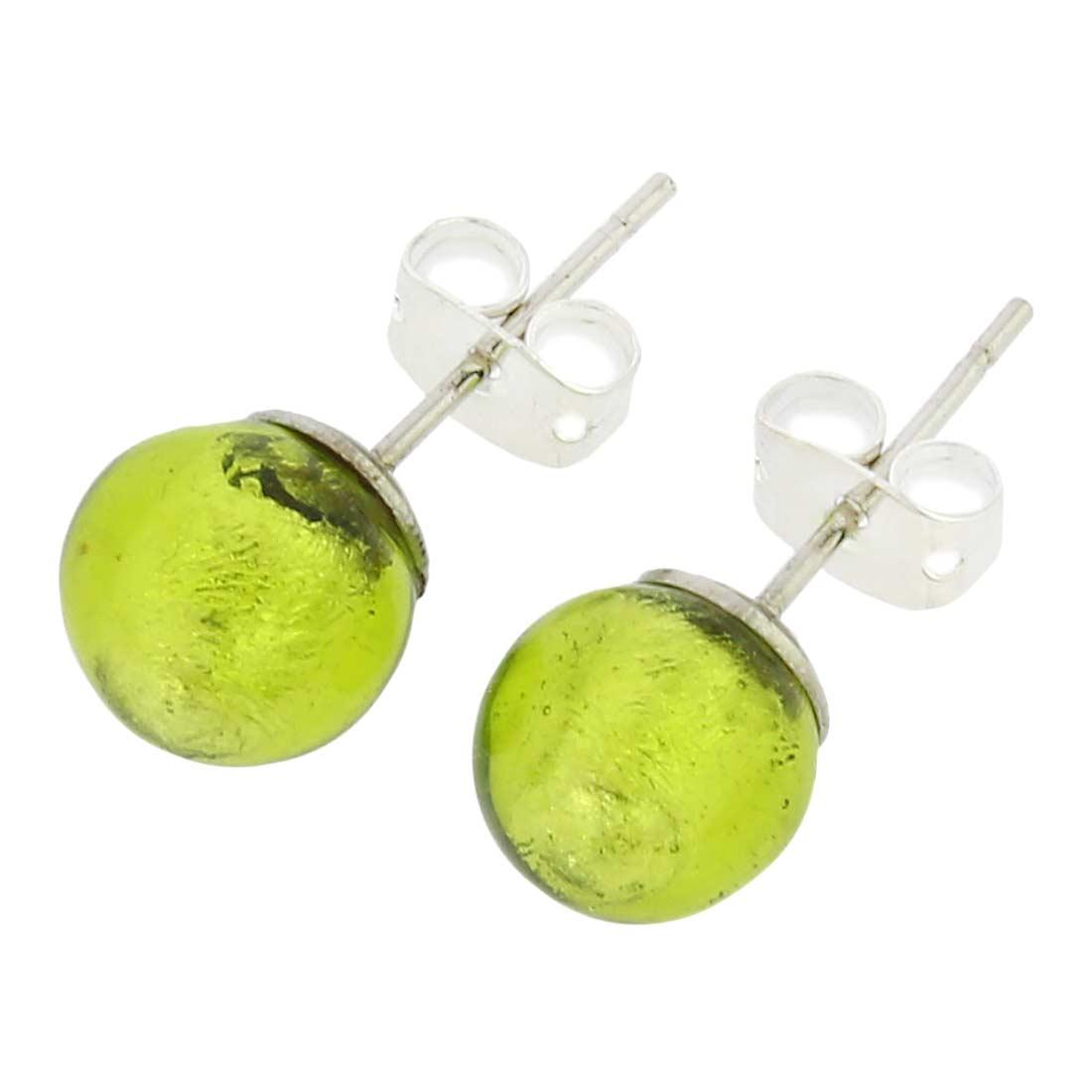 Murano Ball Stud Earrings - Lime Green