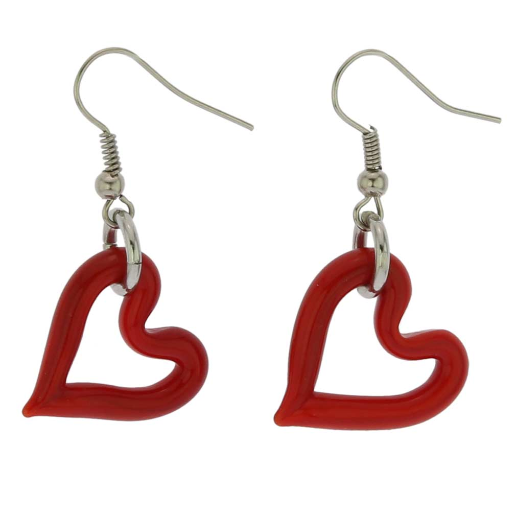 Murano Red Heart Earrings