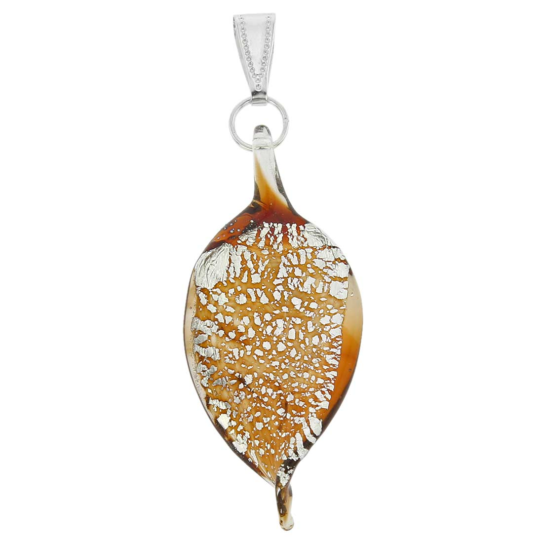 Silver Rain Murano Leaf Pendant - Red