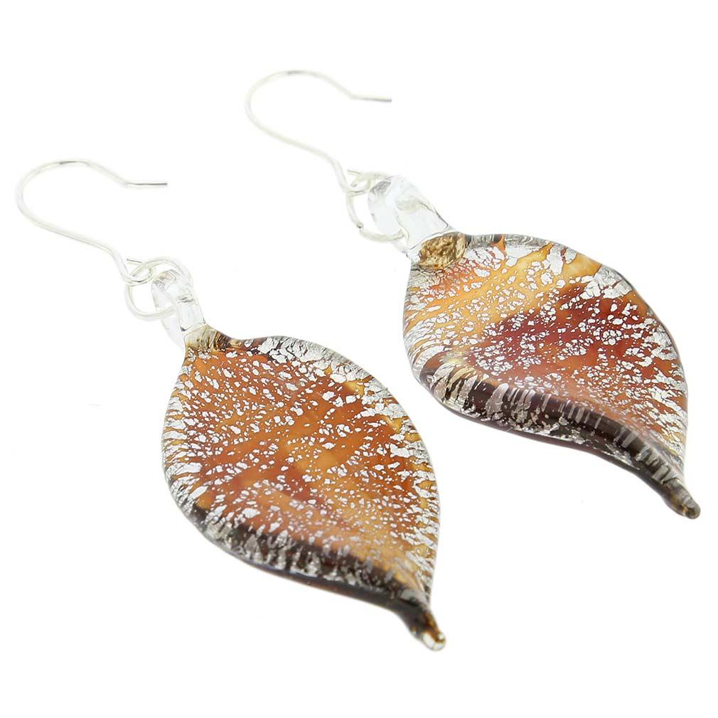 Silver Rain Murano Leaf Earrings - Wine