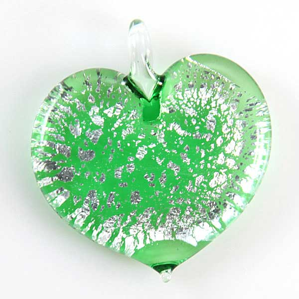 Silver Rain Heart pendant - Green