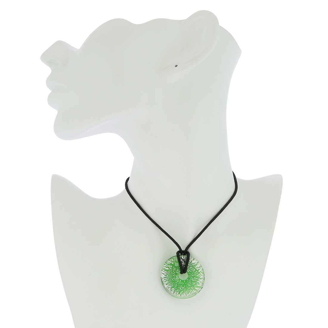 Silver Rain bagel pendant - Green