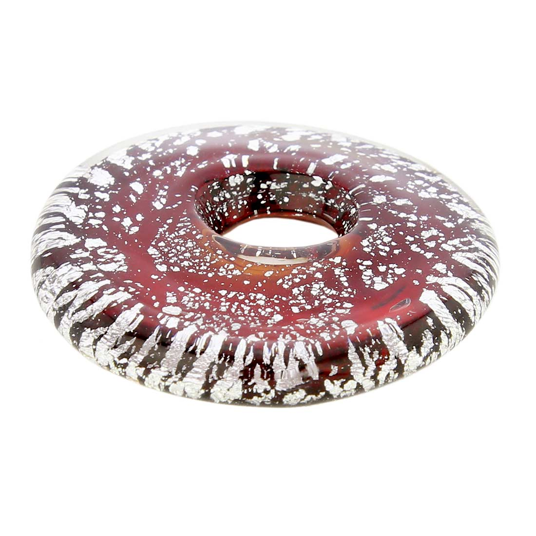 Silver Rain bagel pendant - Red