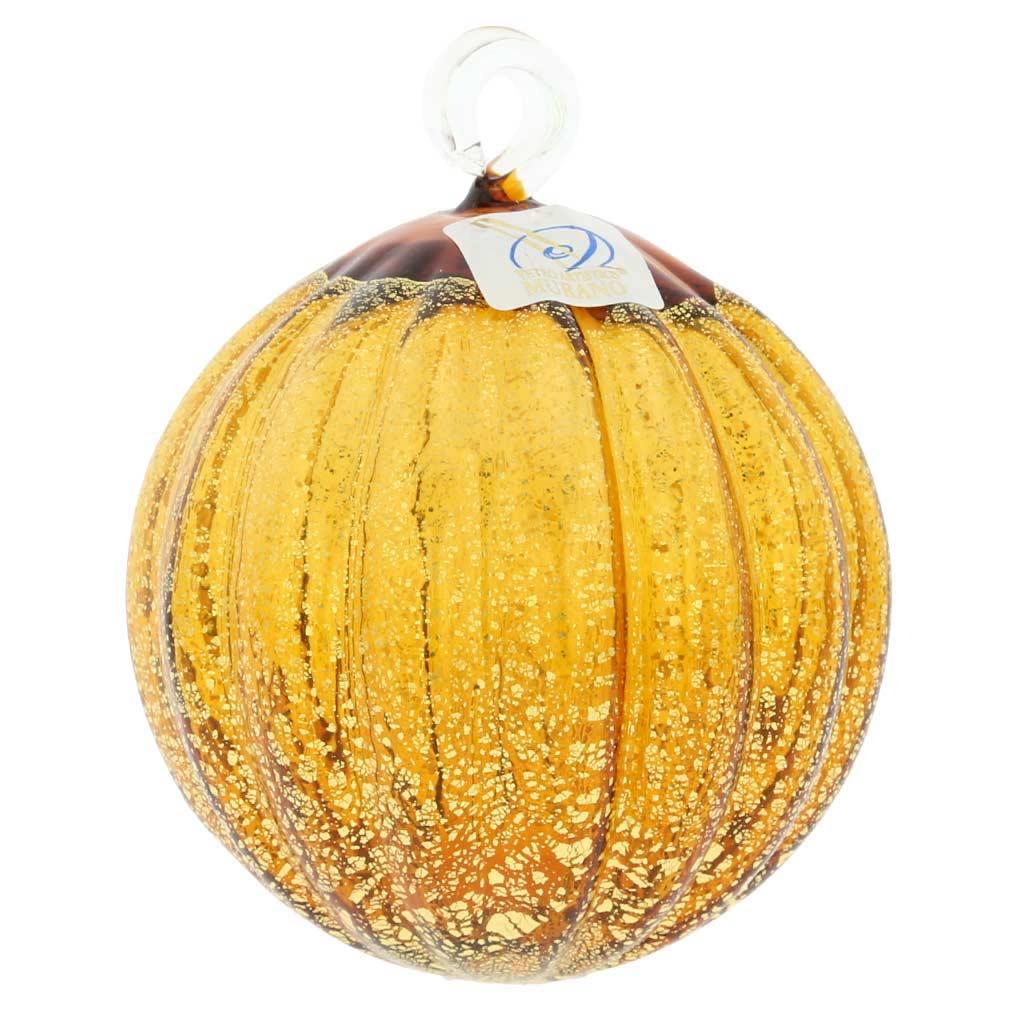 Murano Glass Medium Christmas Ornament - Amber