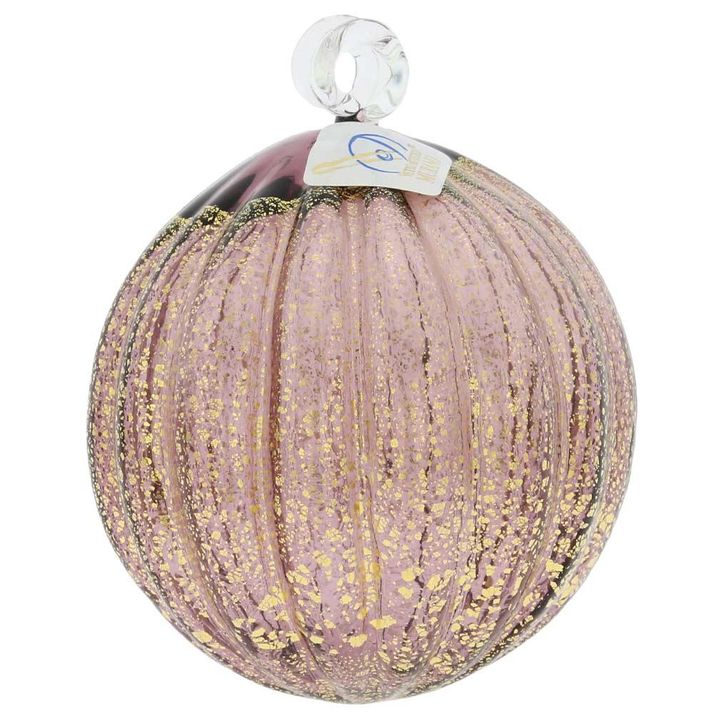 Murano Glass Medium Christmas Ornament - Amethyst