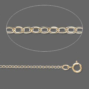 Gold-filled flat cable chain, 1.3mm links - 18 inches