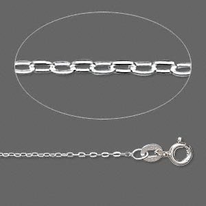 Sterling silver flat cable chain, 1.4mm links - 16 inches