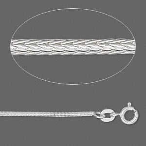 Sterling silver round foxtail chain, 1.3mm links - 16-inches