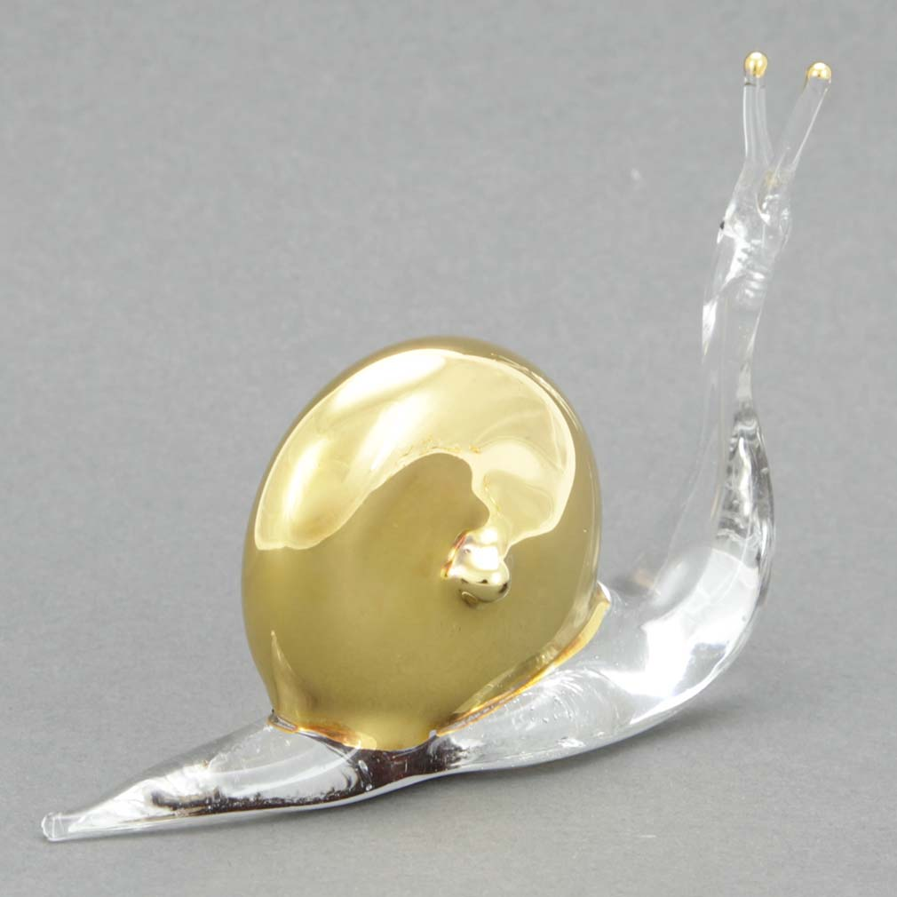 Murano Glass Cristallo and Gold Snail