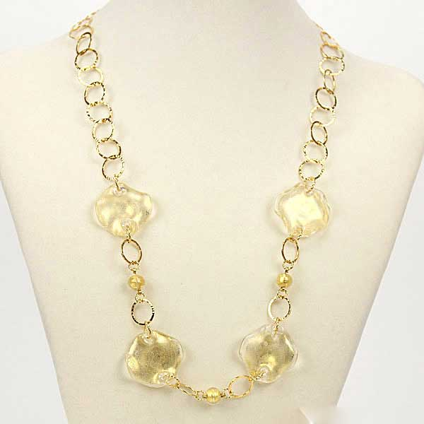 Golden Leaves Murano Necklace