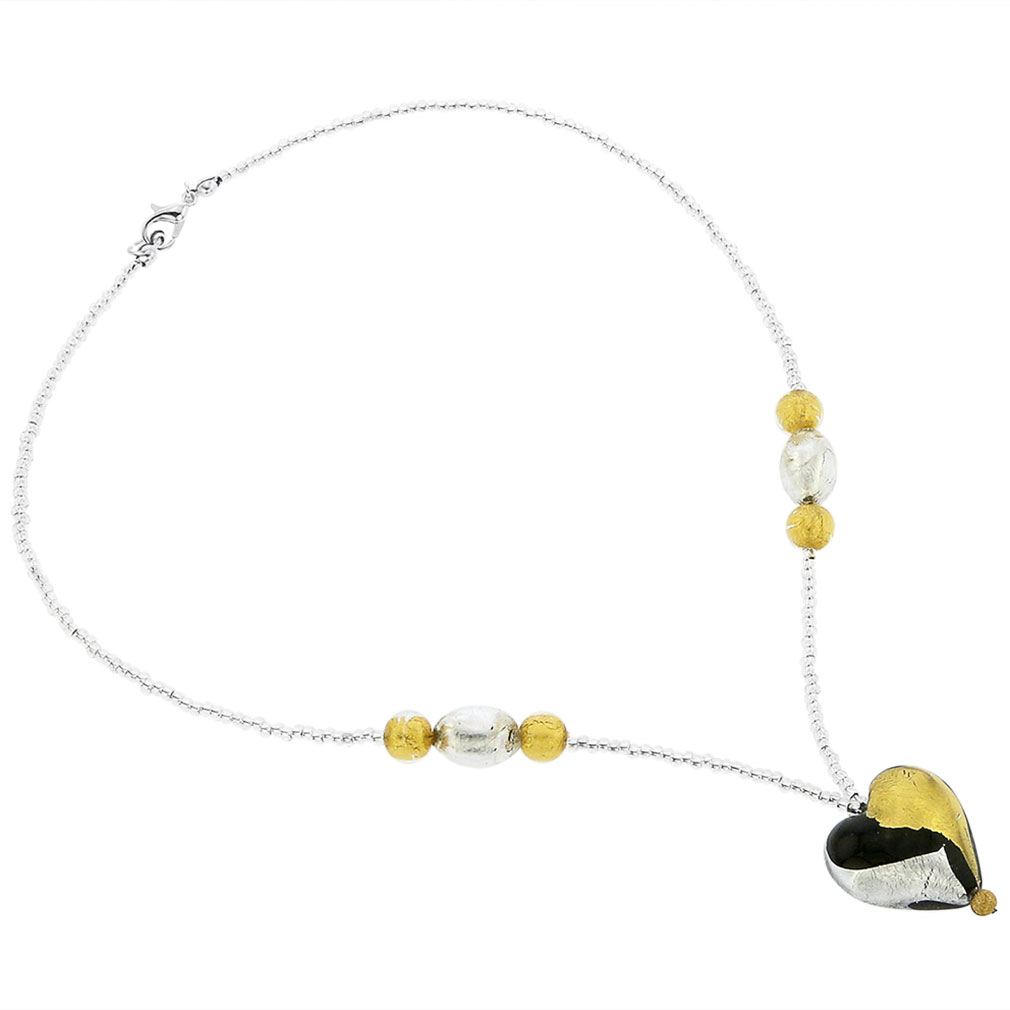 Murano Heart Necklace - Gold and Silver
