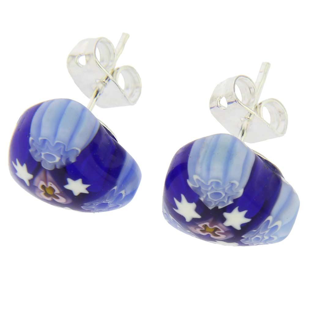 Millefiori Heart Stud Earrings