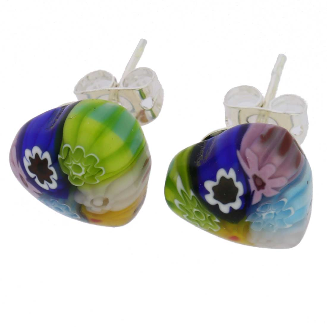 Millefiori Heart Stud Earrings #1