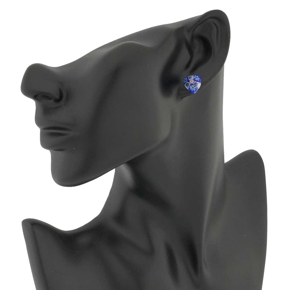 Millefiori Heart Stud Earrings #2