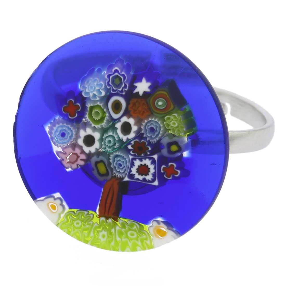 """Murano Millefiori \""""Tree of Life\"""" Ring 3/4 inch"""