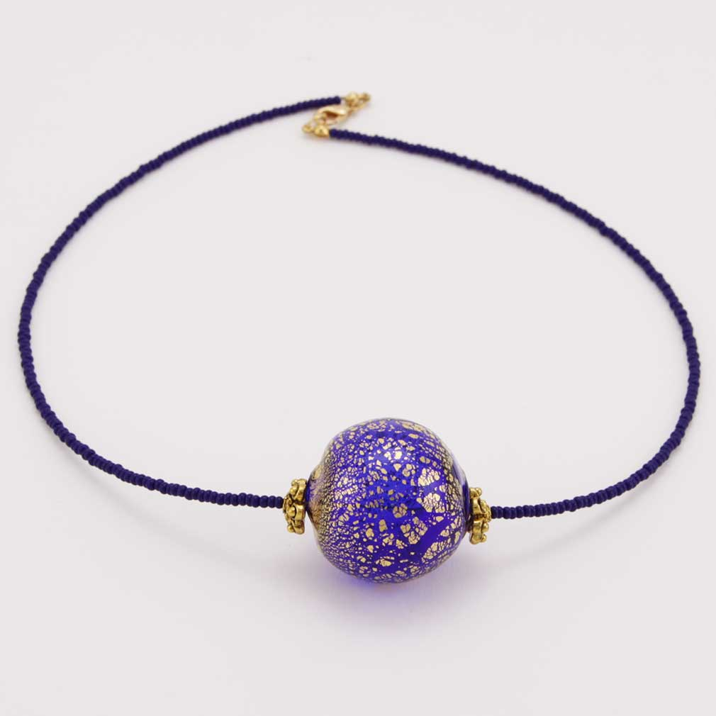 Serenella Murano Necklace - Navy Blue