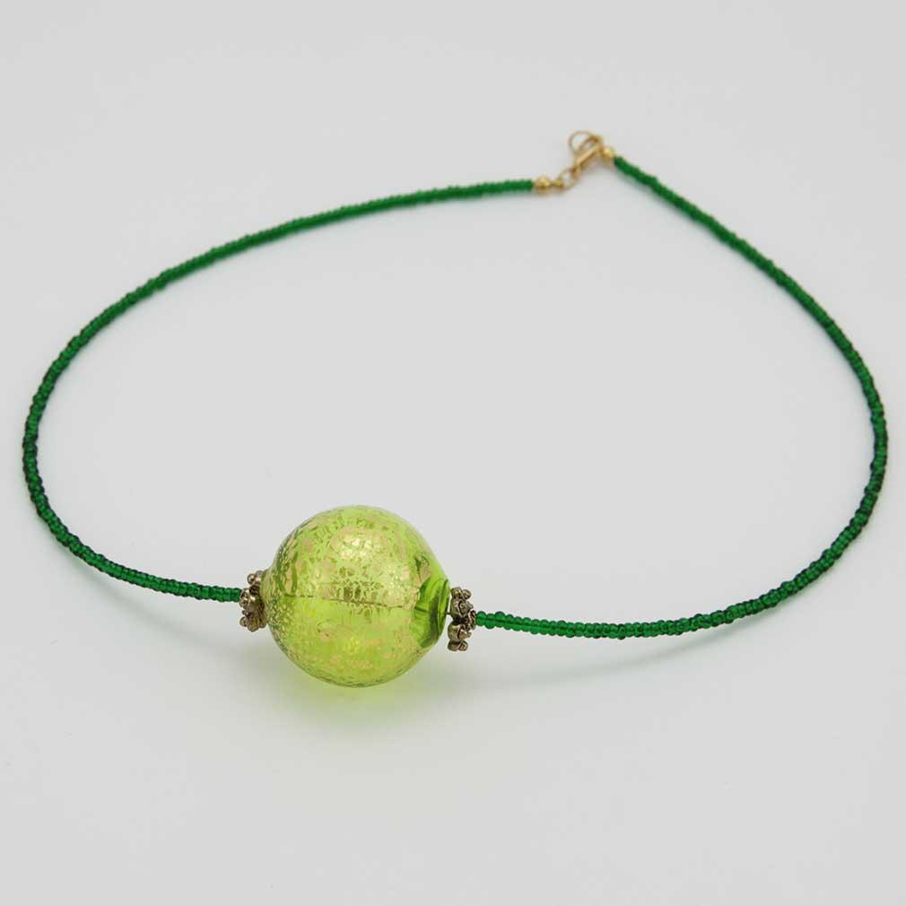 Serenella Murano Necklace - Lime Green