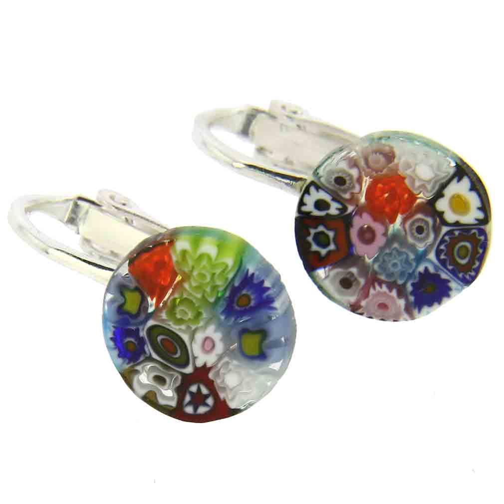 Murano Millefiori Clip Earrings - Multicolor