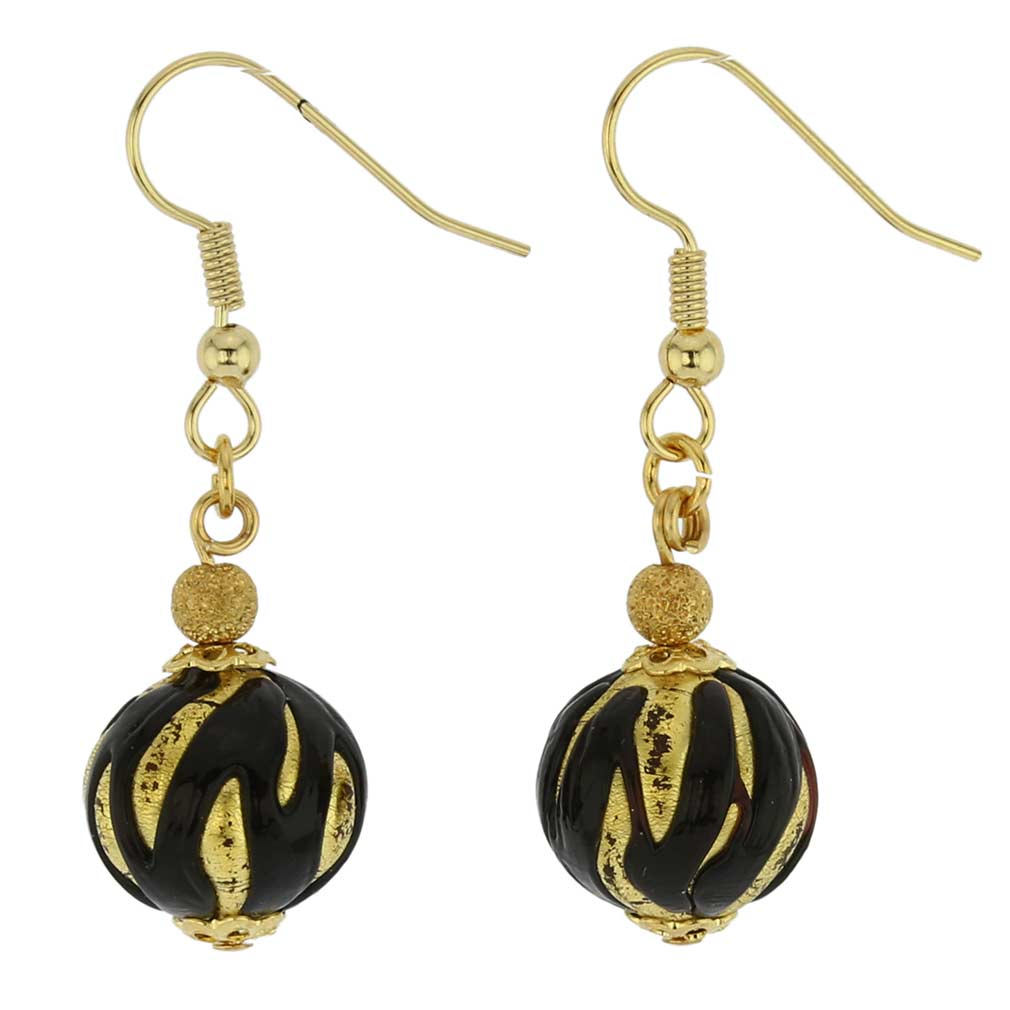 Royal Black Ball Earrings