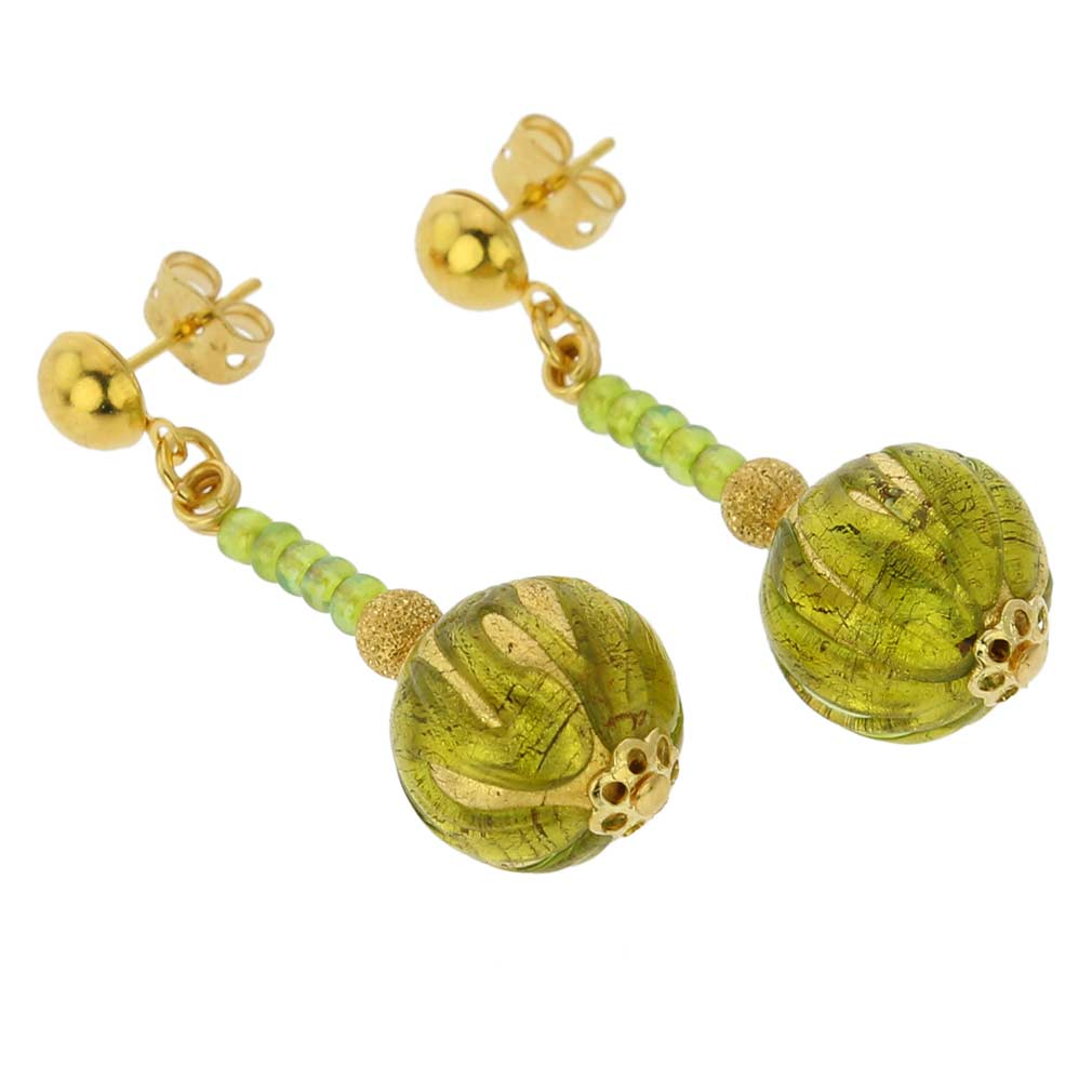 Canaletto Earrings - Gold Herb Green