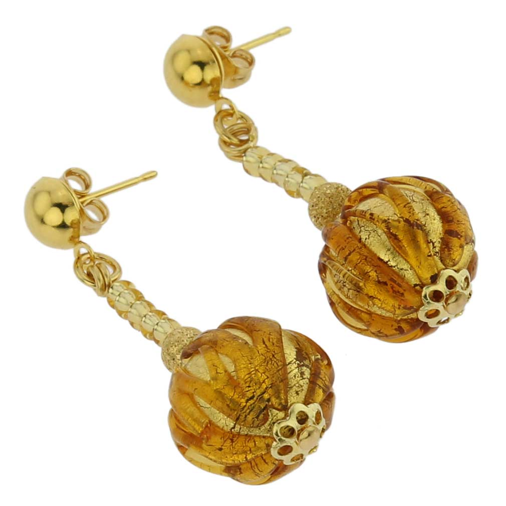 Canaletto Earrings - Gold Amber