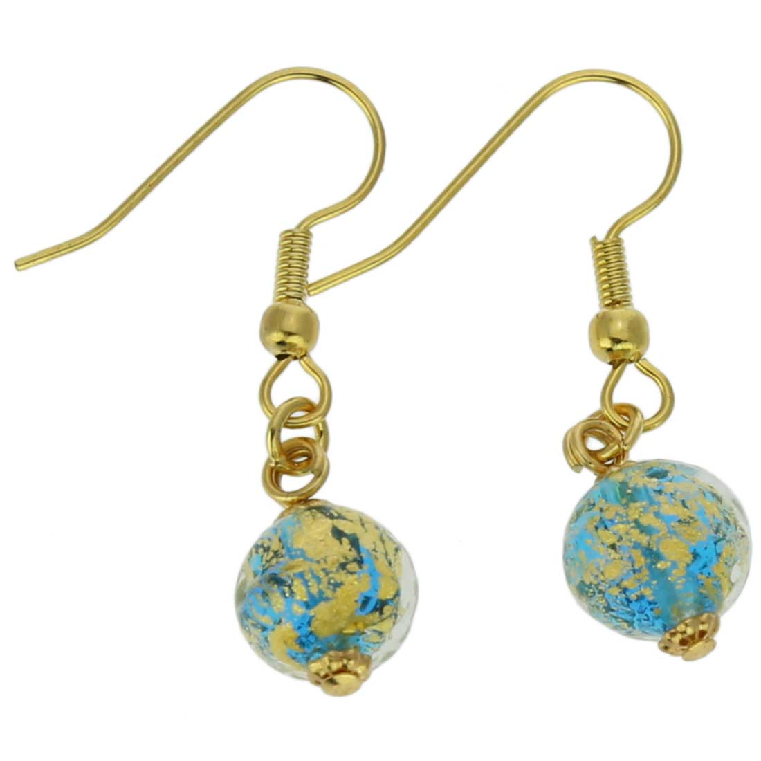 Golden Glow Earrings - Aqua