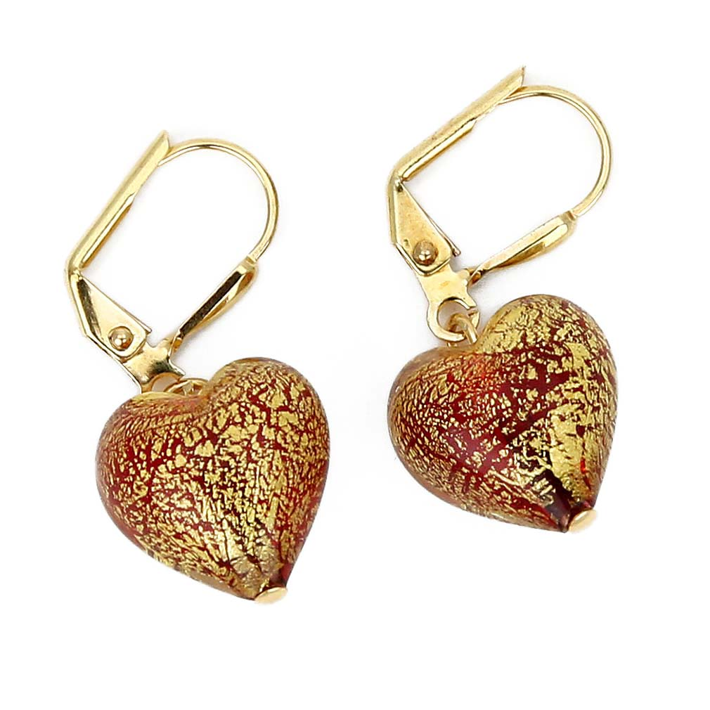 Ca D'Oro Murano Heart earrings - Red