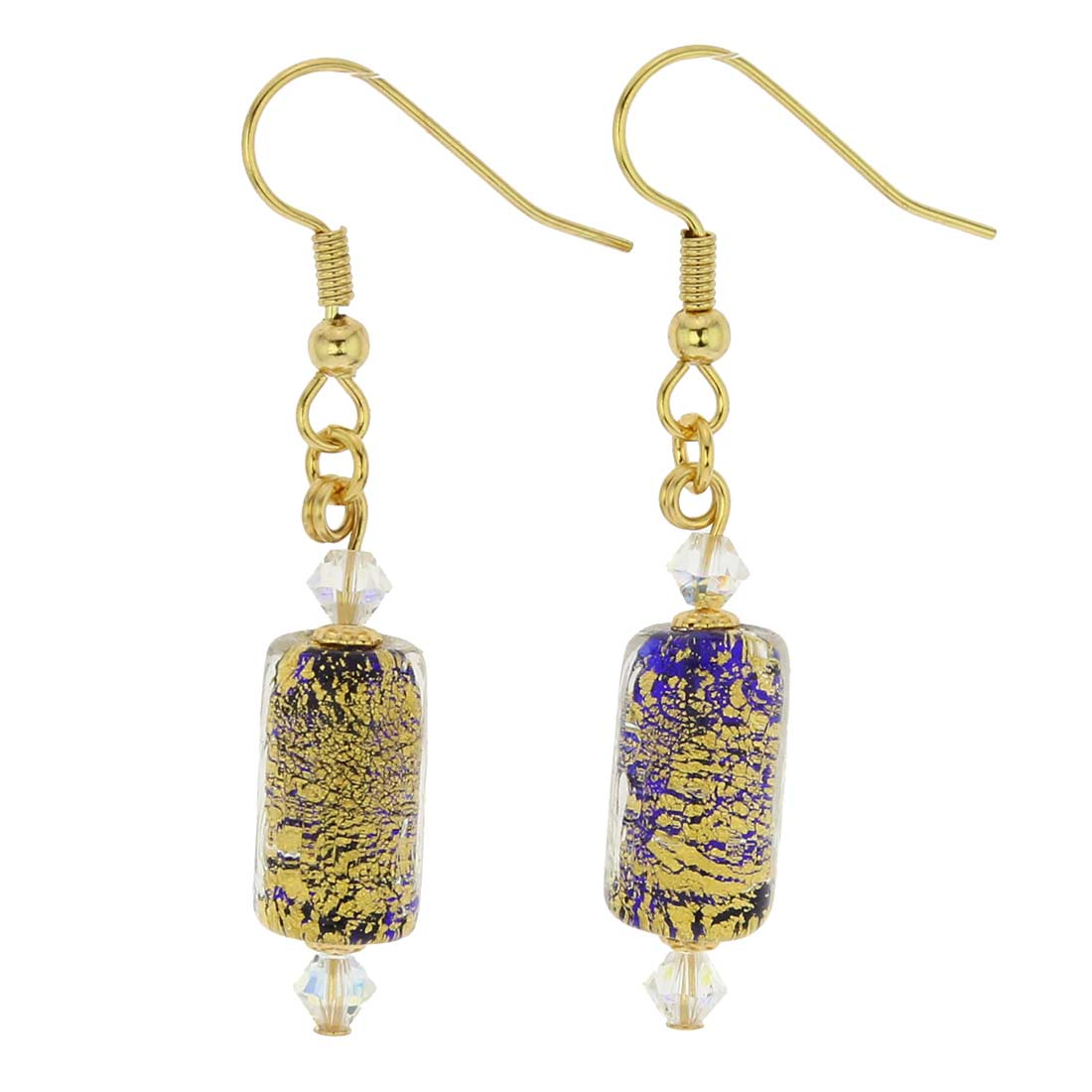 Ca D'Oro Murano Barrel Earrings - Cobalt Blue