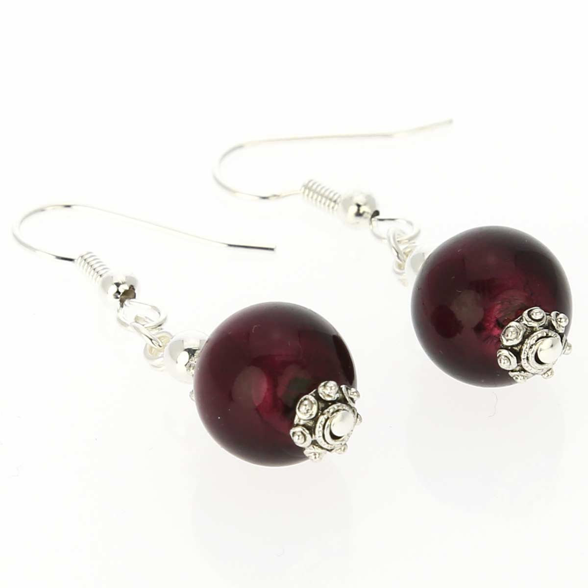 Antico Tesoro Balls Earrings -Silver Purple