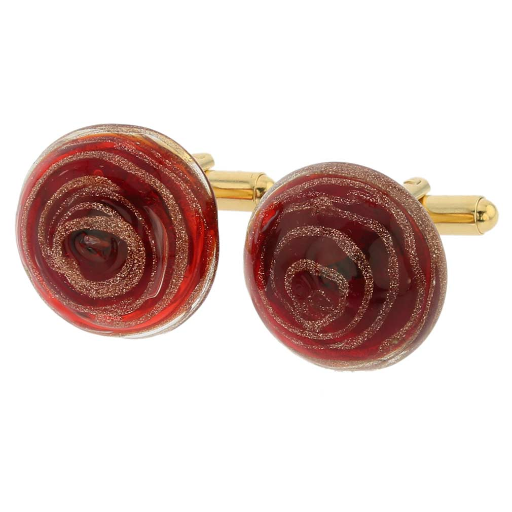 Venetian Sparkles cufflinks - ruby red