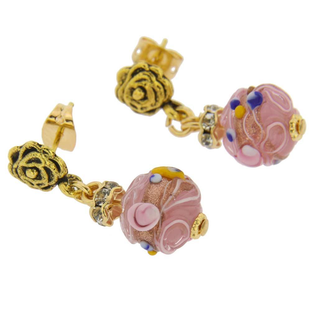 Magnifica antique stud balls earrings - tender rose