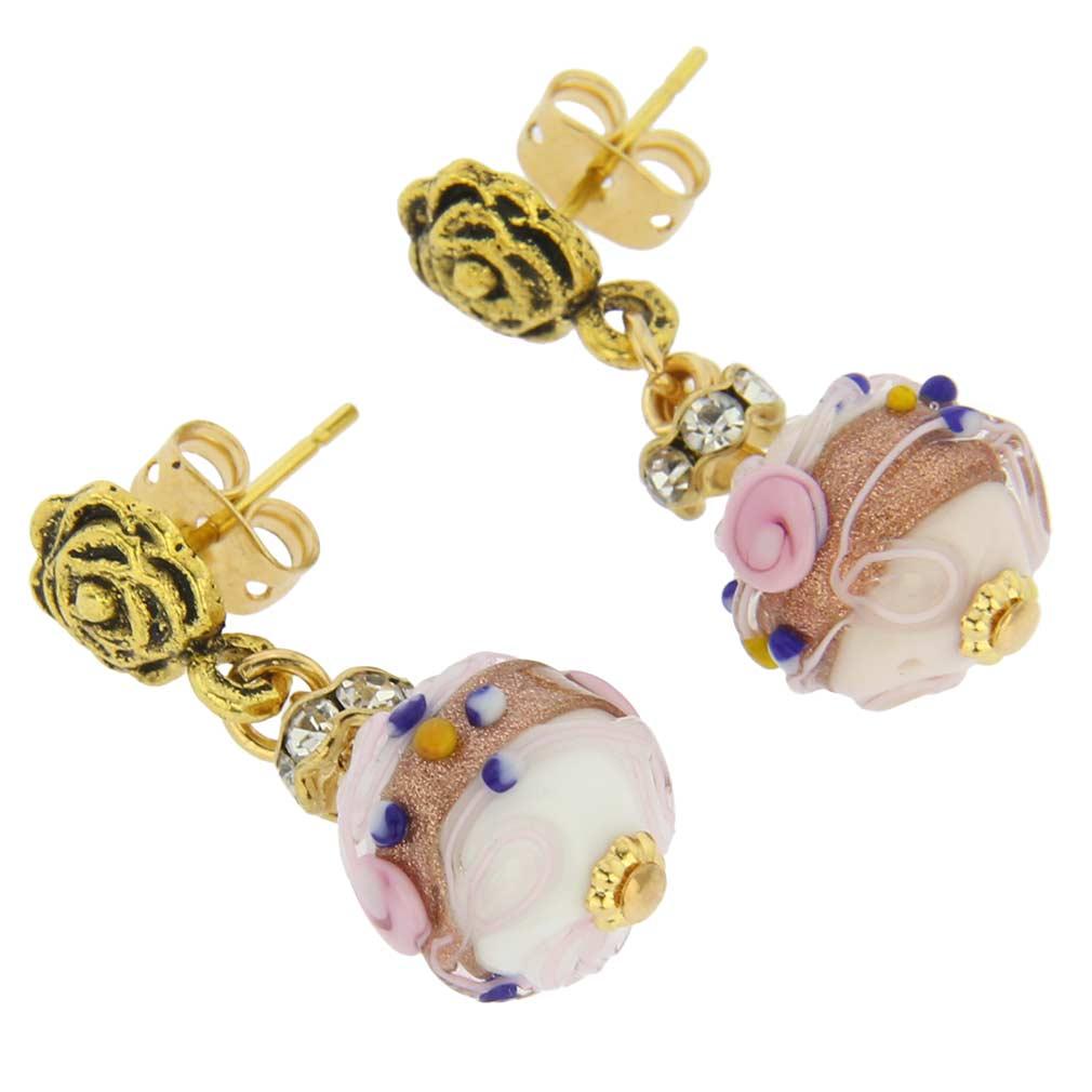 Magnifica antique stud balls earrings - cream
