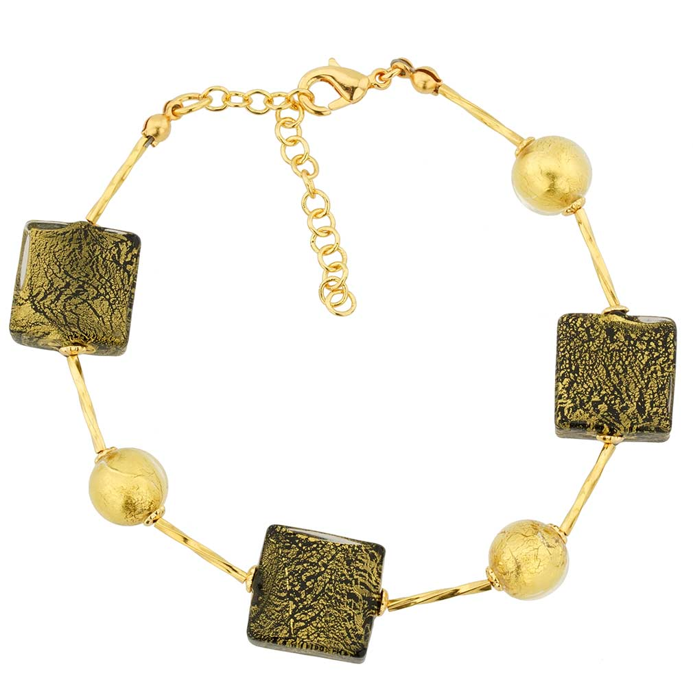 Vivaldi Murano Bracelet - Black and Gold