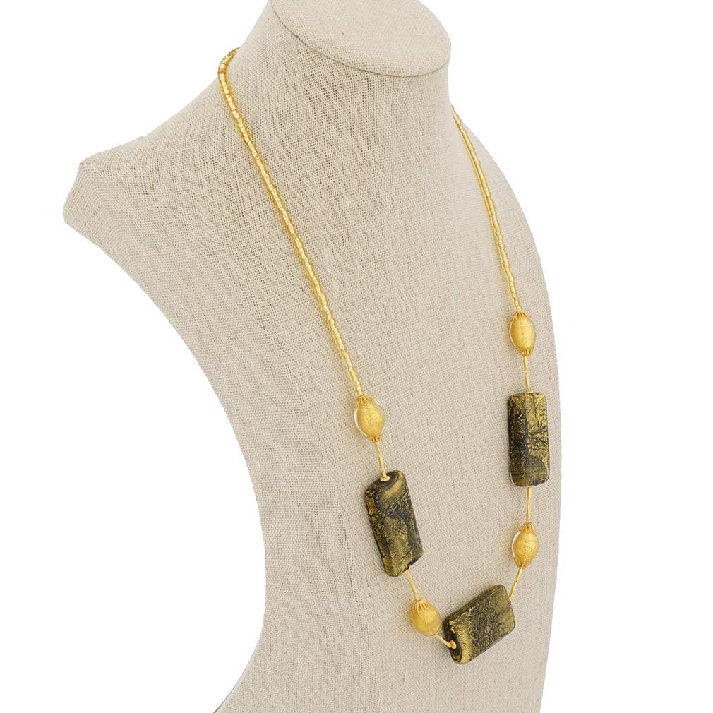 Vivaldi Murano Necklace - Black and Gold