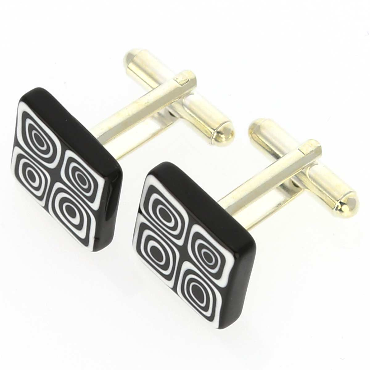 Murano Millefiori Square Cufflinks - Black and White
