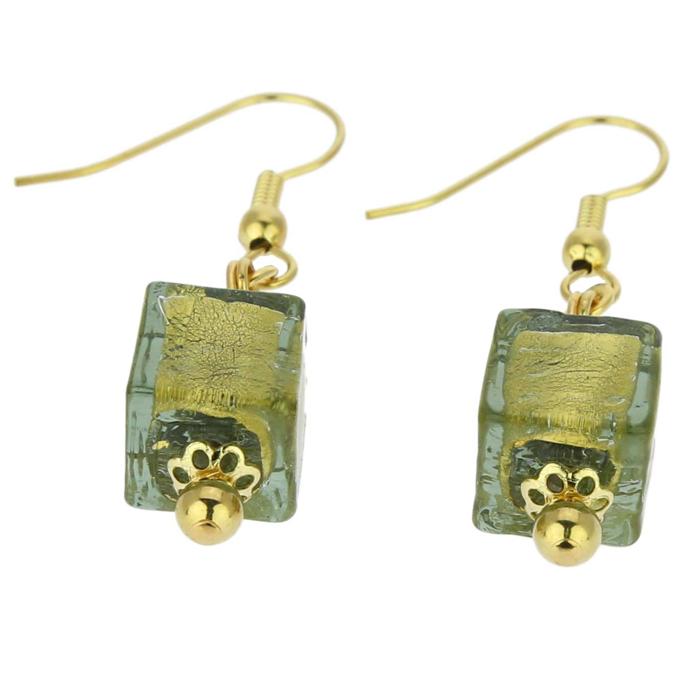 Antico Tesoro cubes earrings -olive green