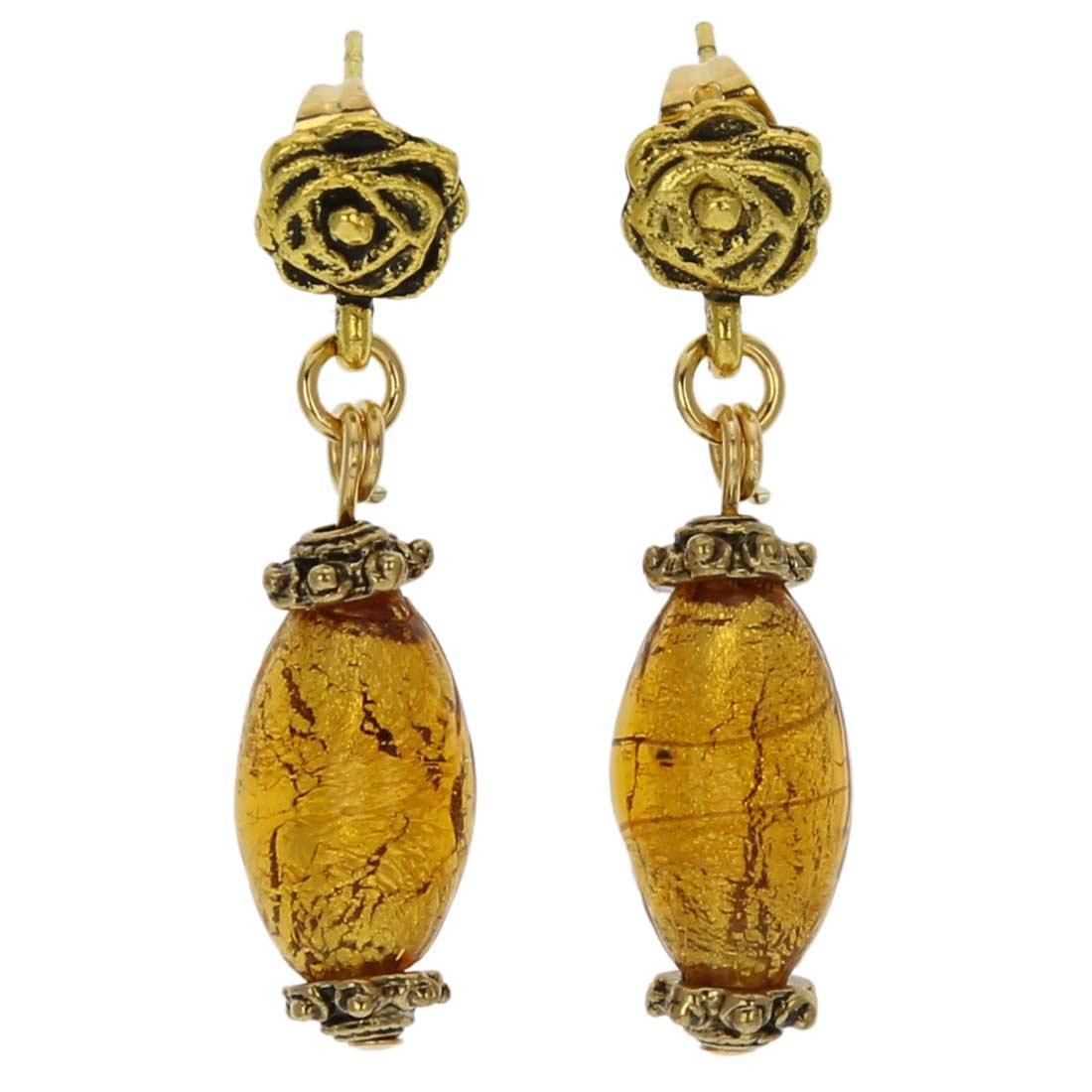Antico Tesoro olives earrings -amber gold