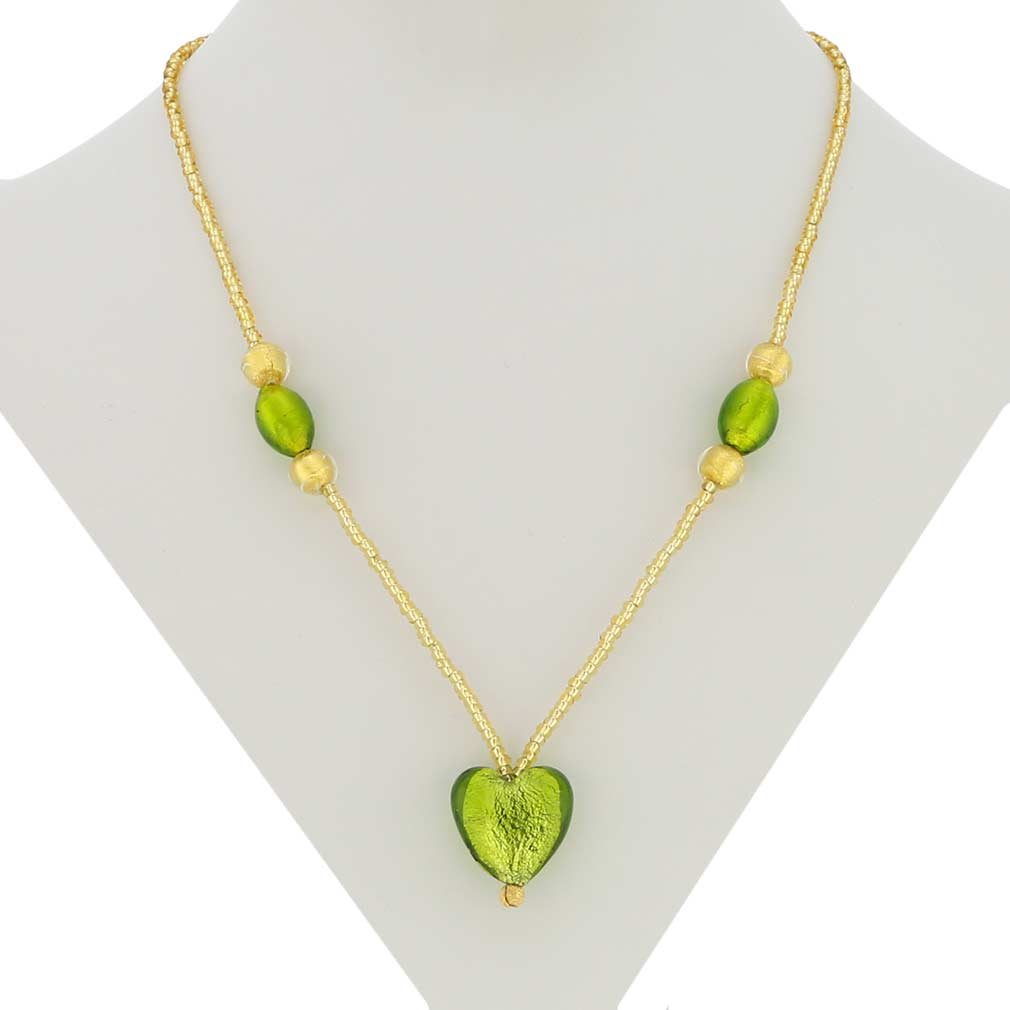 Murano Heart Gold Foil Necklace - Lime Green