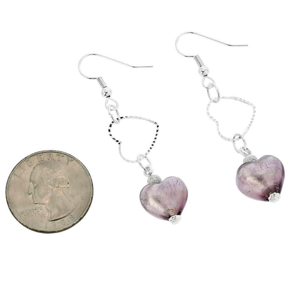 Venetian Wedding Heart Earrings - Amethyst