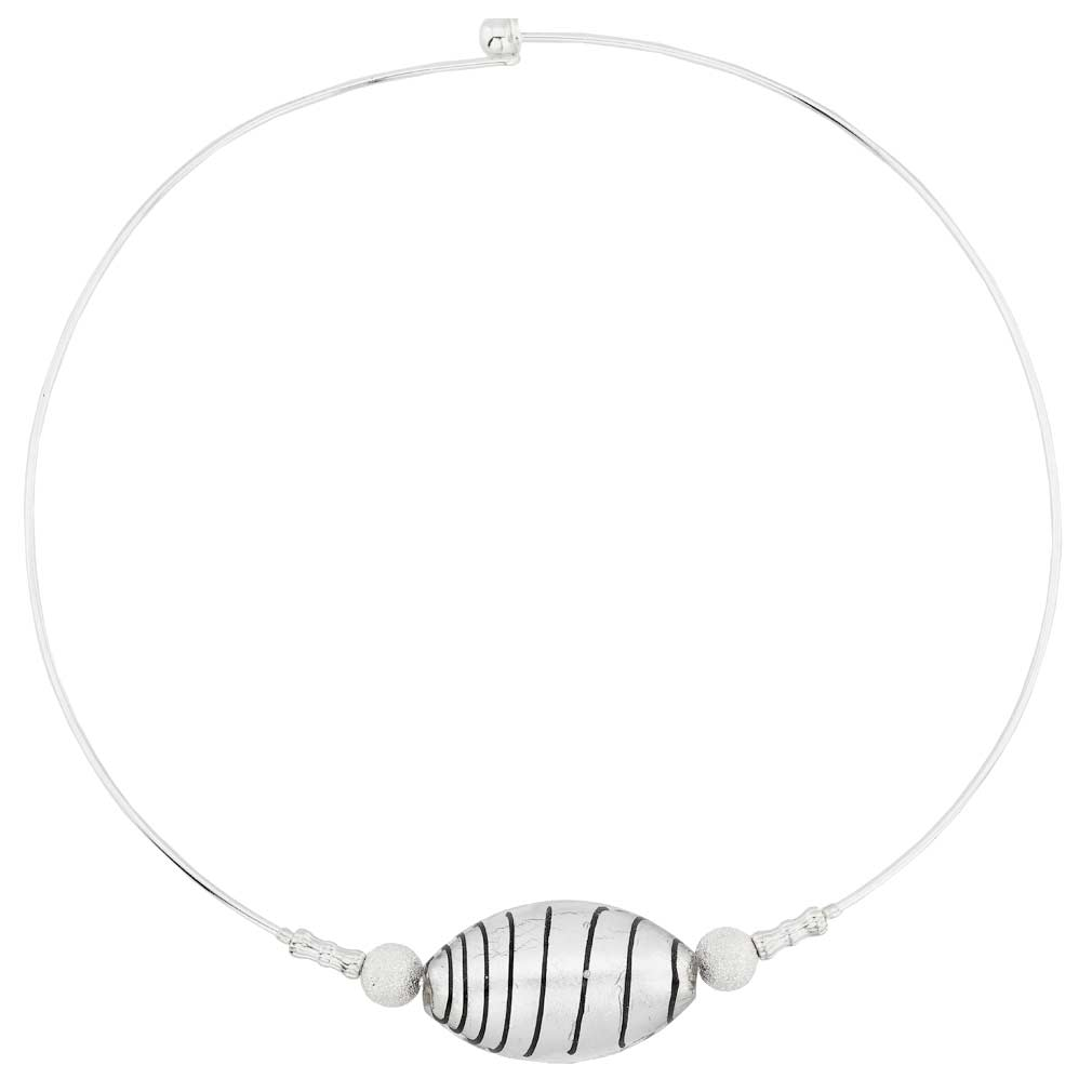 Zebra Murano glass choker necklace