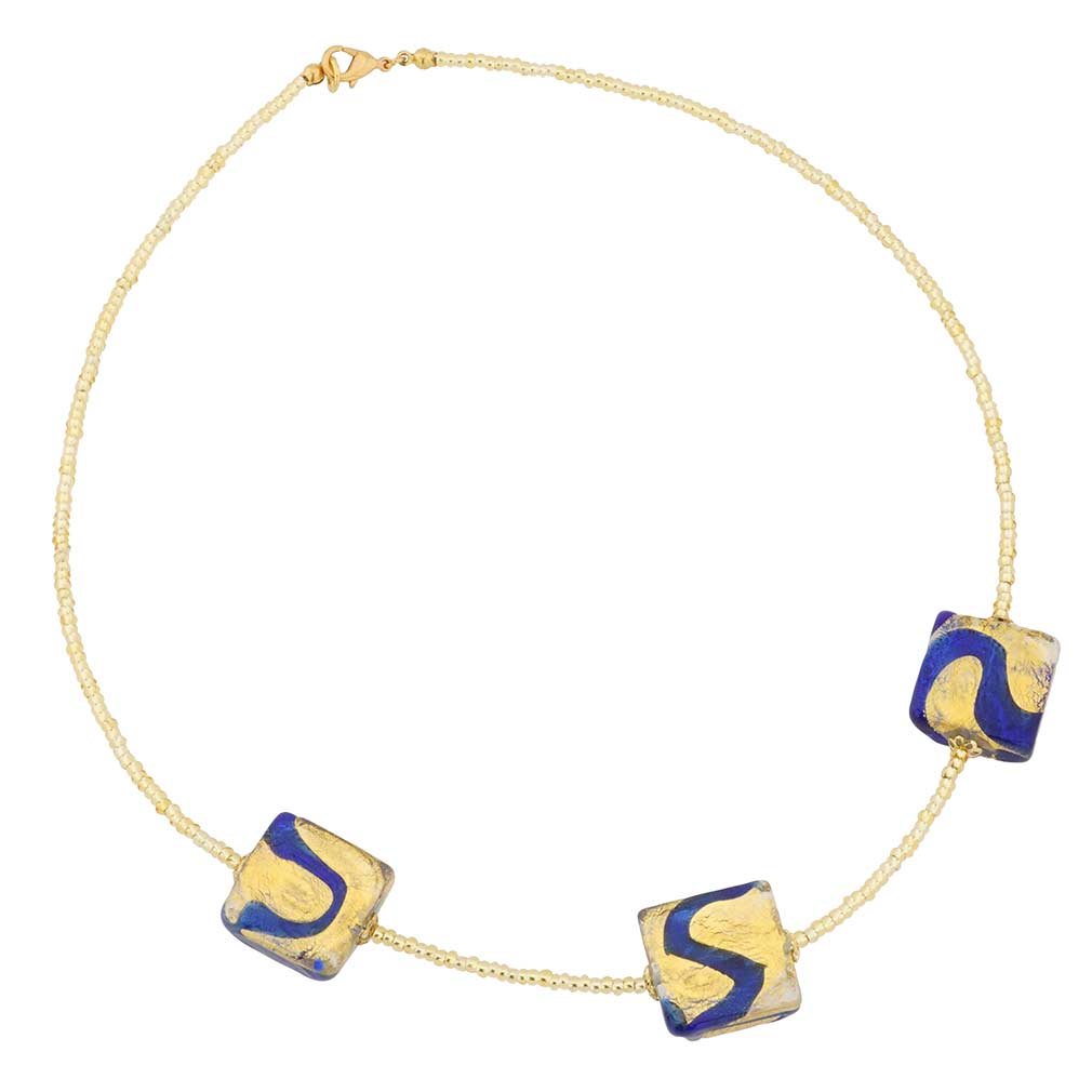 Royal Blue Squares necklace