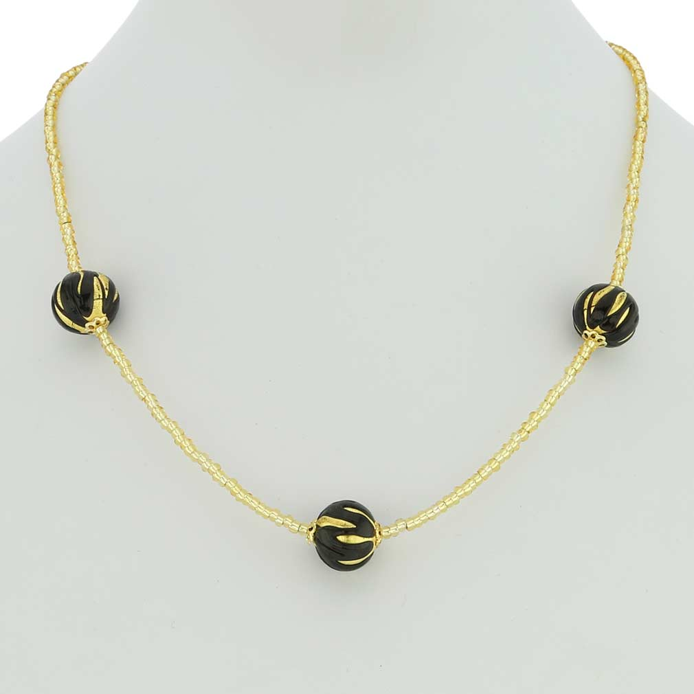 Royal Black Balls Necklace