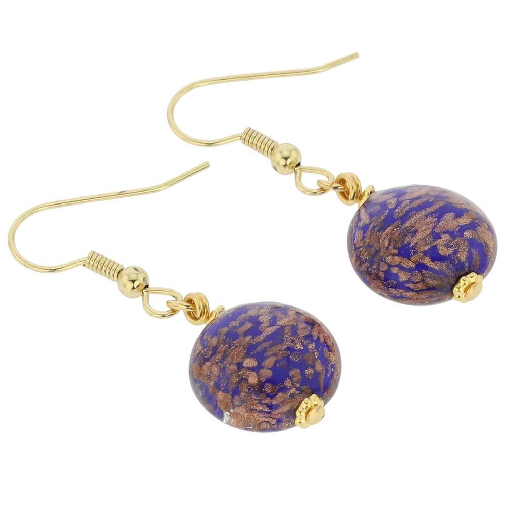 Starlight disk earrings - navy blue