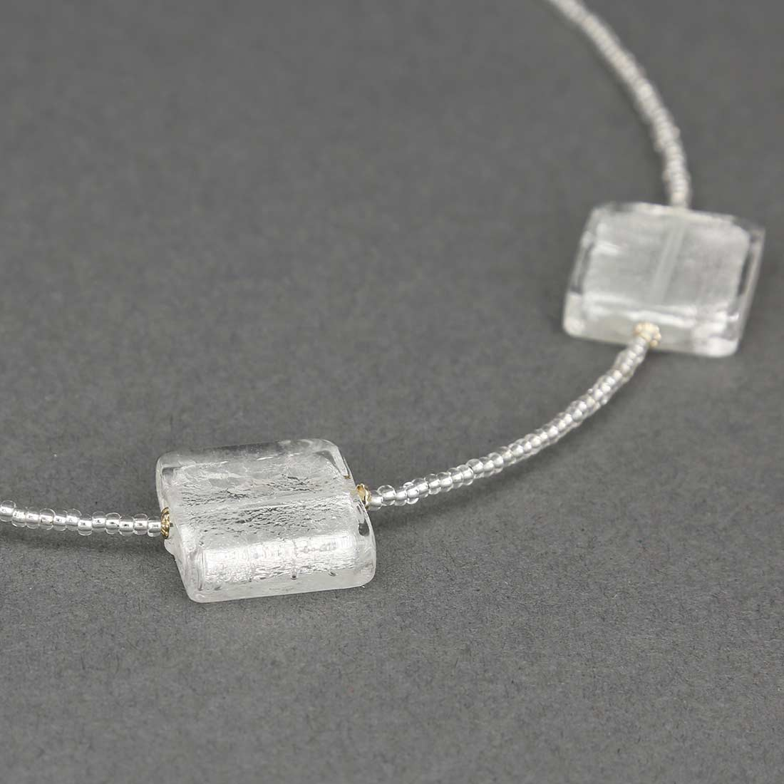 Silver Squares Murano Necklace