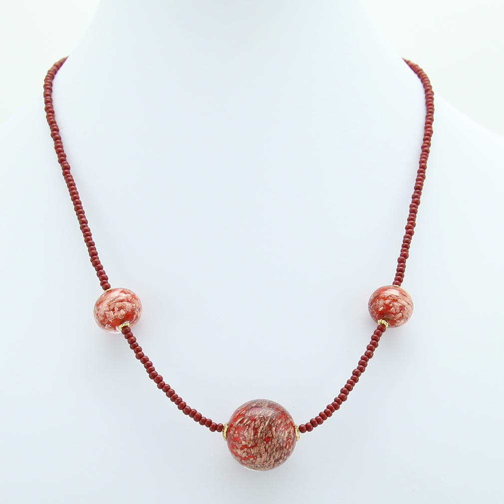 Starlight Balls necklace - cranberry