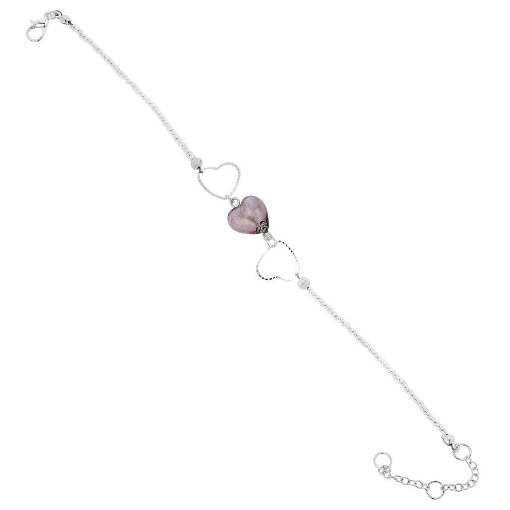 Venetian Wedding Amethyst Heart Murano Bracelet