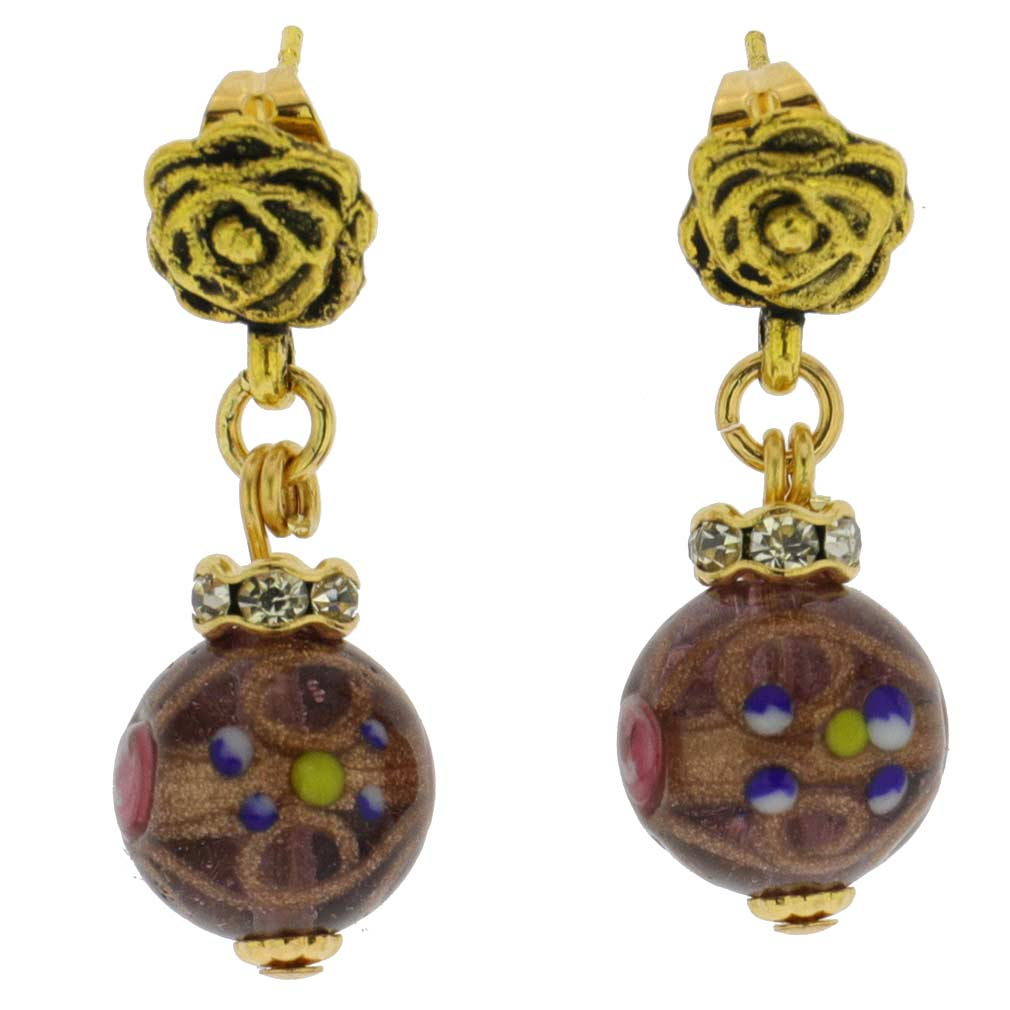 Magnifica Antique Stud Balls Earrings - Light Amethyst
