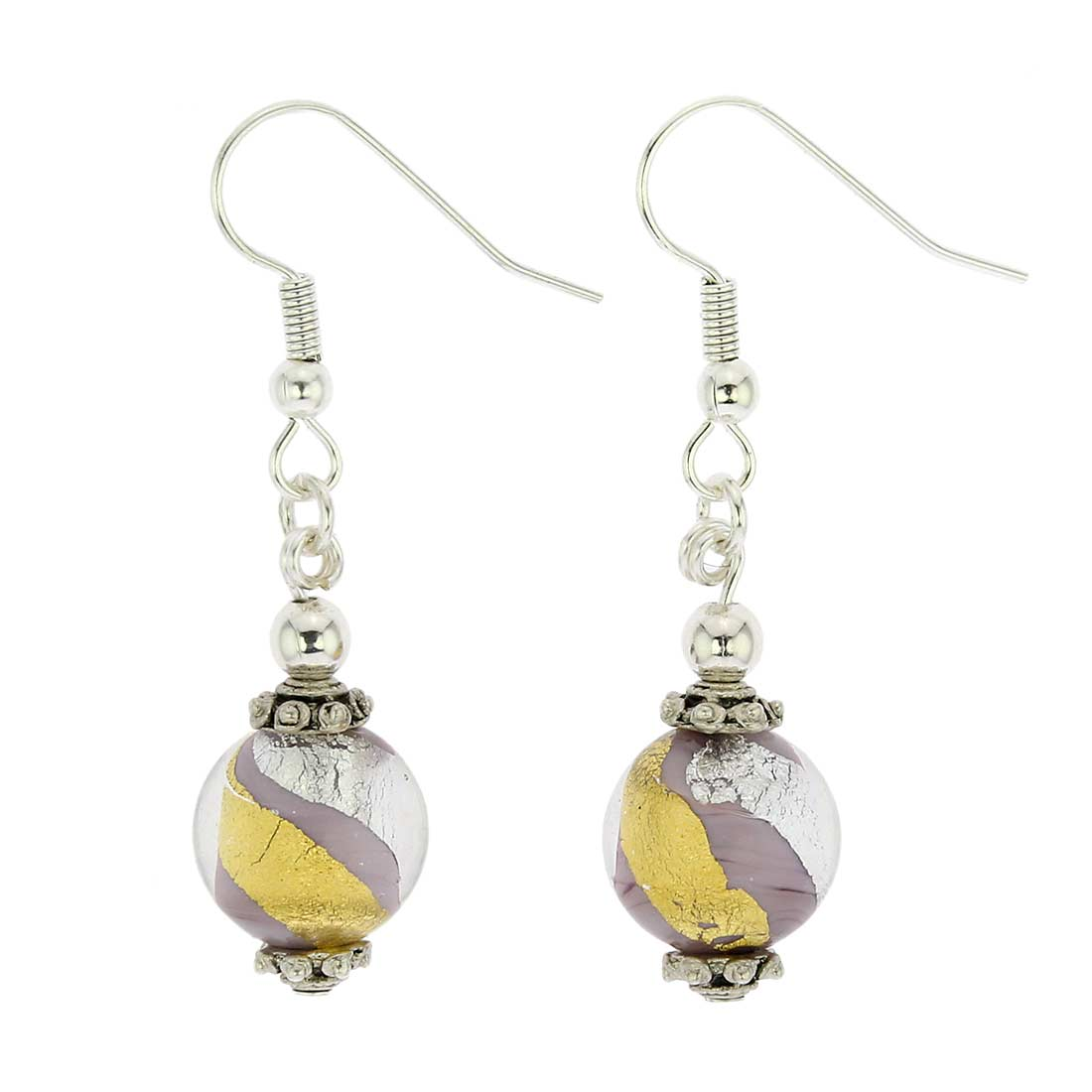 Antico Tesoro Balls Earrings - Purple Gold and Silver