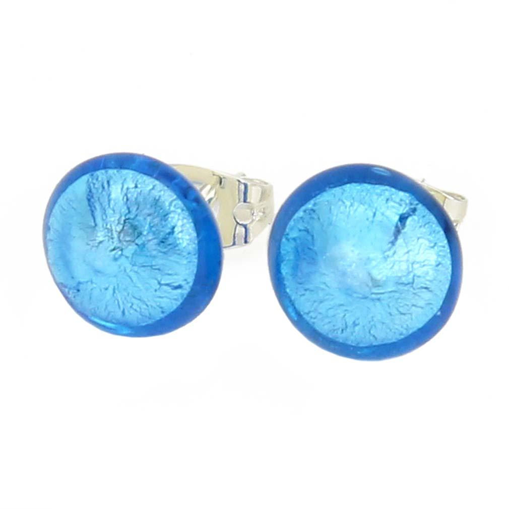 Murano Button Stud Earrings - Aqua Blue
