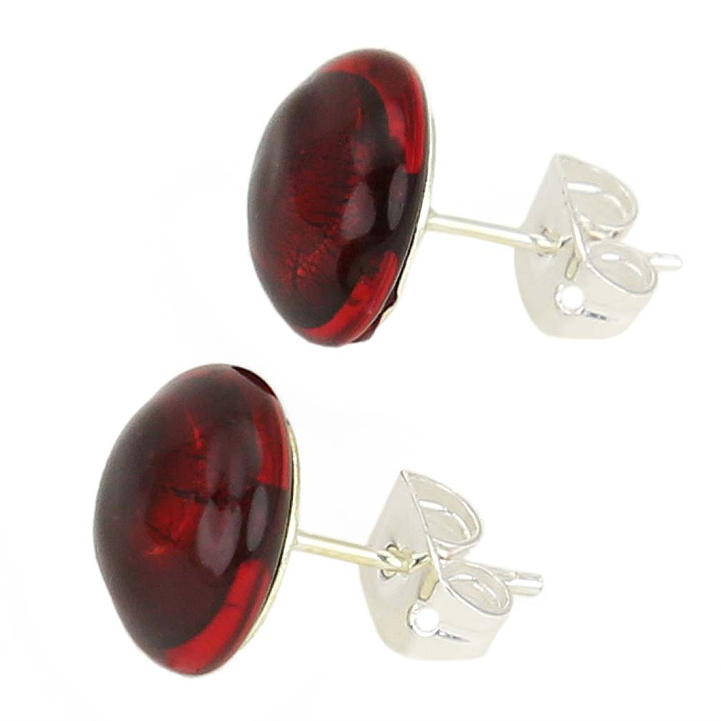 Murano Button Stud Earrings - Ruby Red